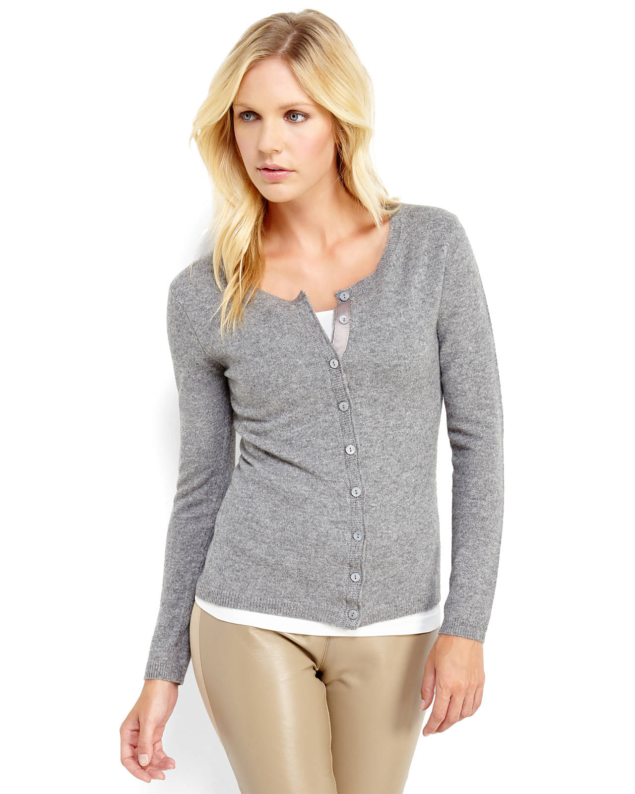 Qi Cashmere Cardigan in Gray | Lyst