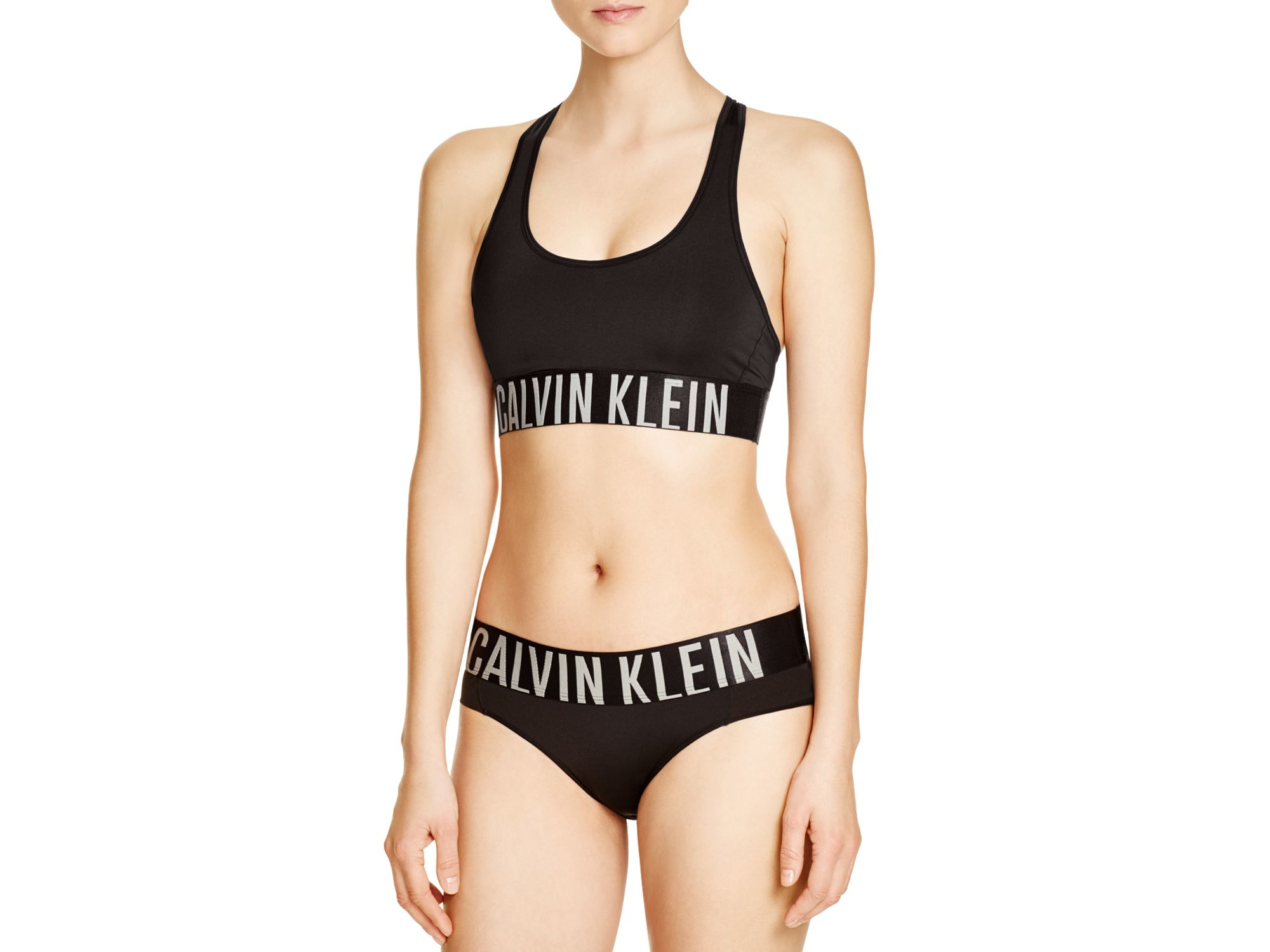 00b4325d47 Lyst - Calvin Klein Intense Power Racerback Bralette  qf1540 in Black