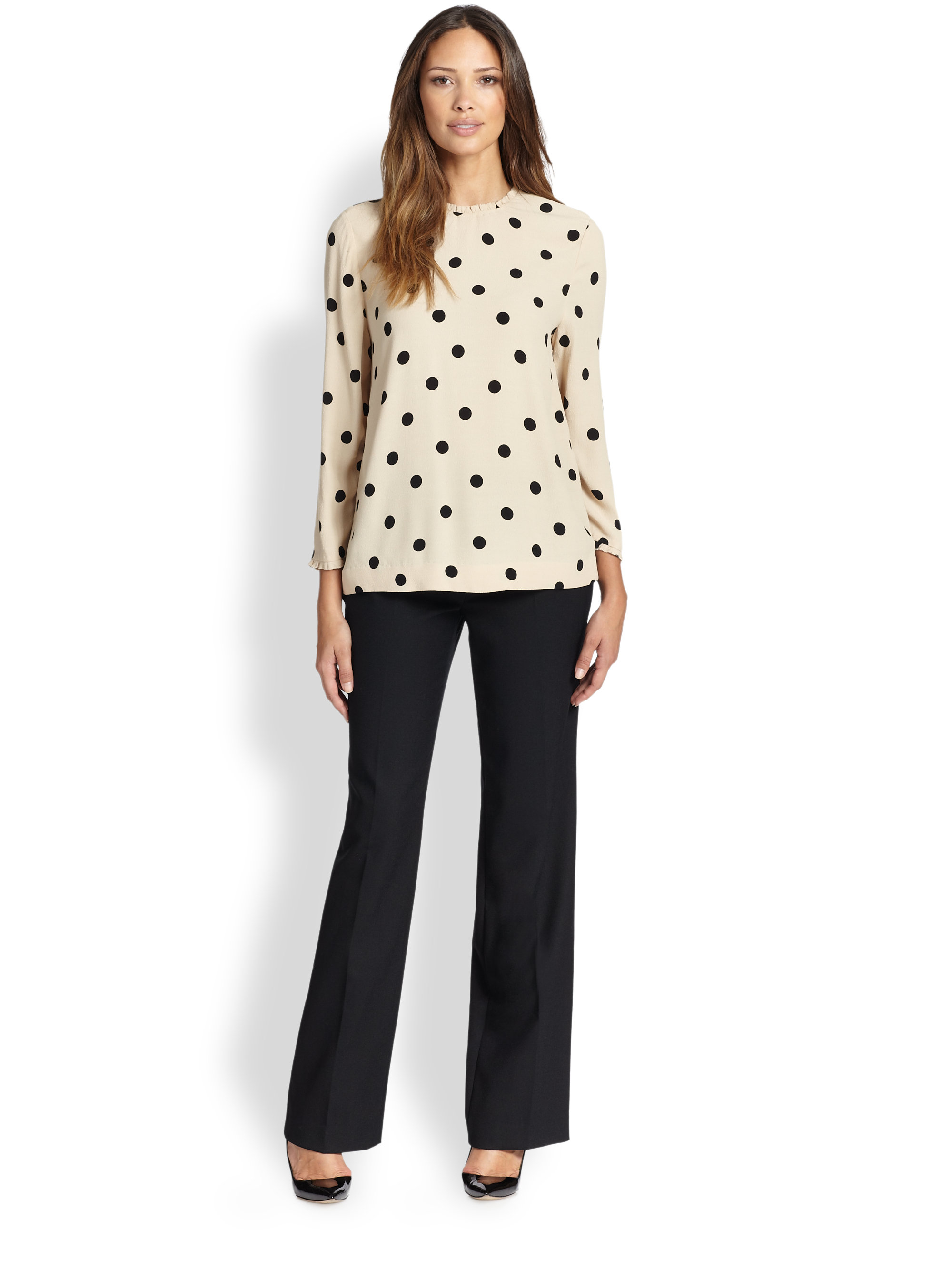 8d559d634ff Lyst - Kate Spade Deco Dot Crepe Top in Black