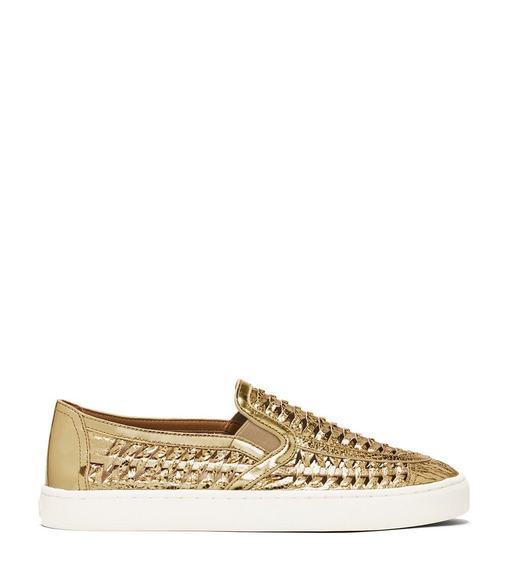 fcffae9071f Lyst - Tory Burch Metallic Huarache Slip-On Sneaker in Metallic