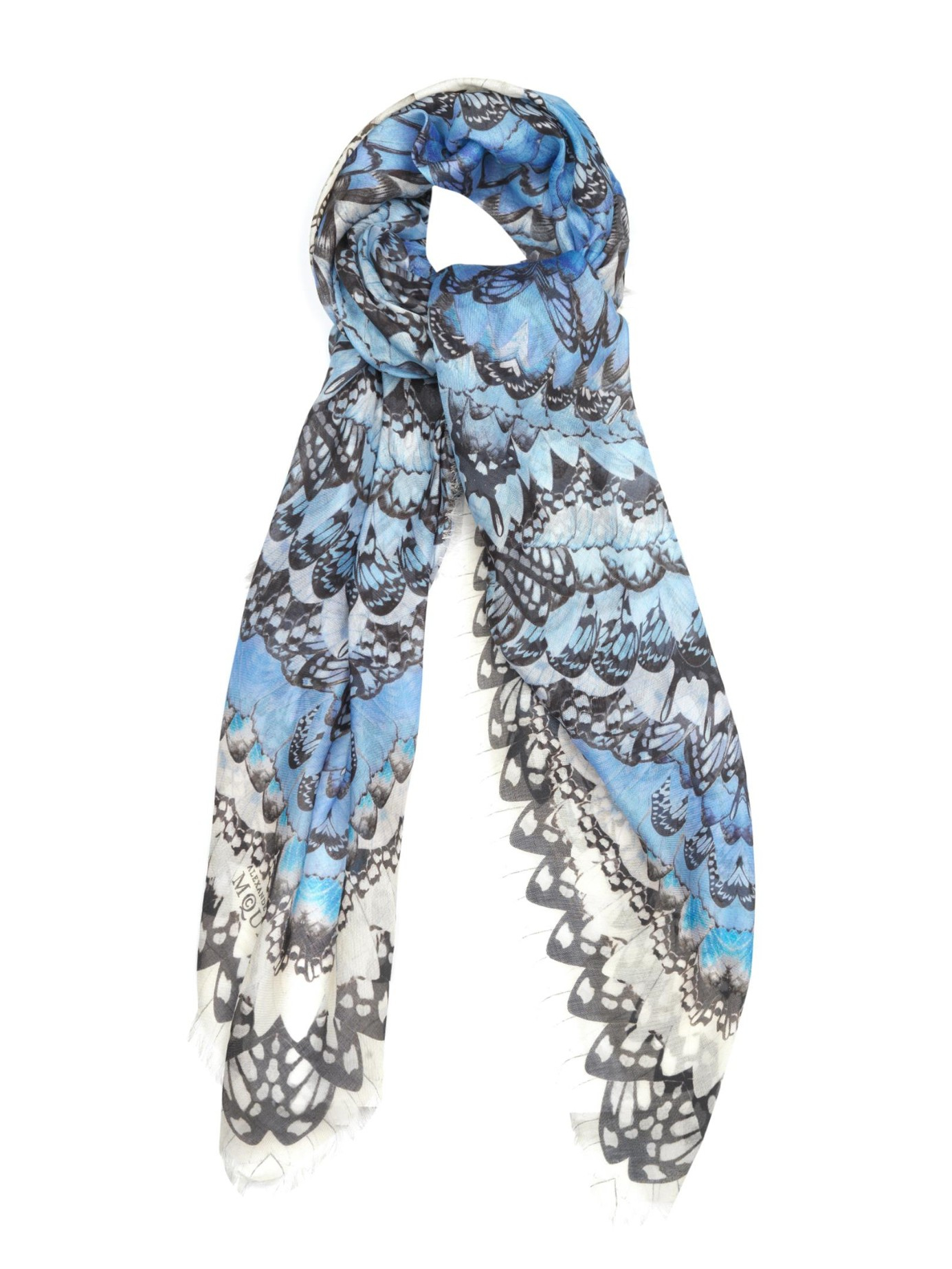 Alexander mcqueen Rainbow-Wings Print Scarf in Blue | Lyst