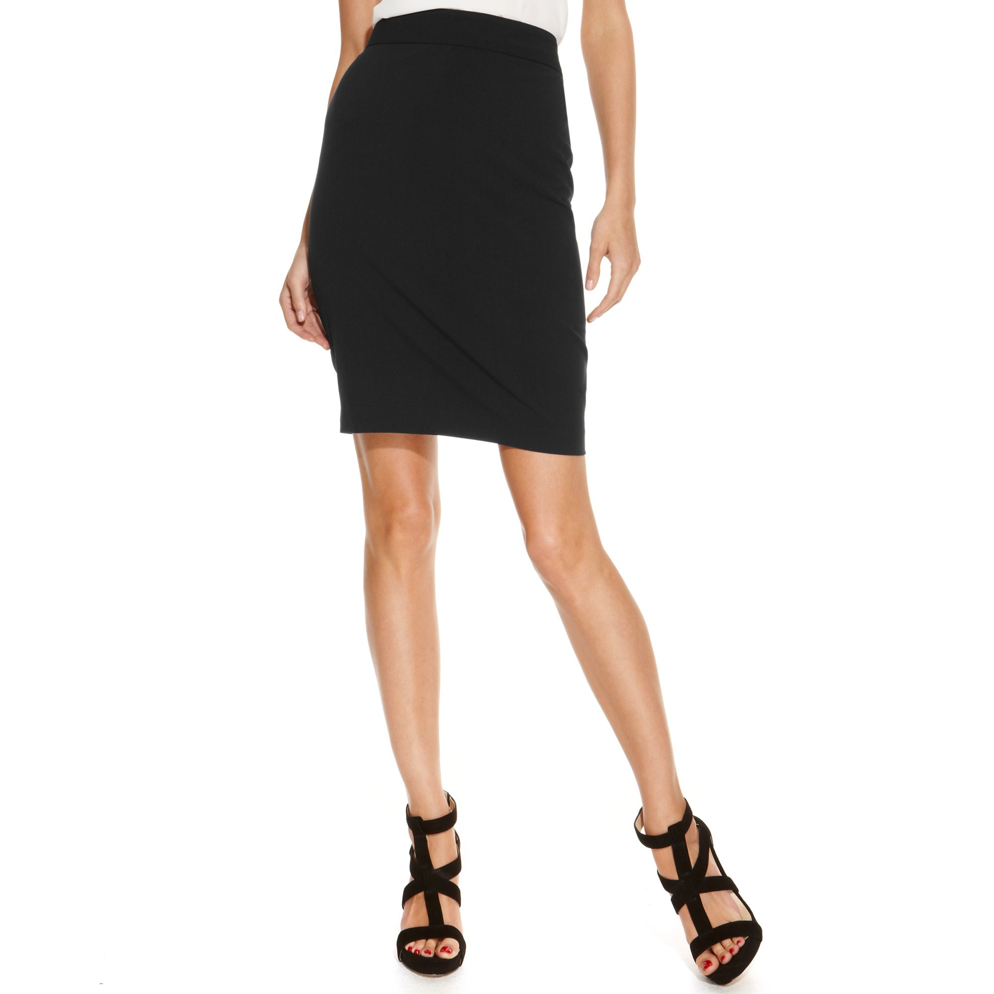inc international concepts classic pencil skirt in black