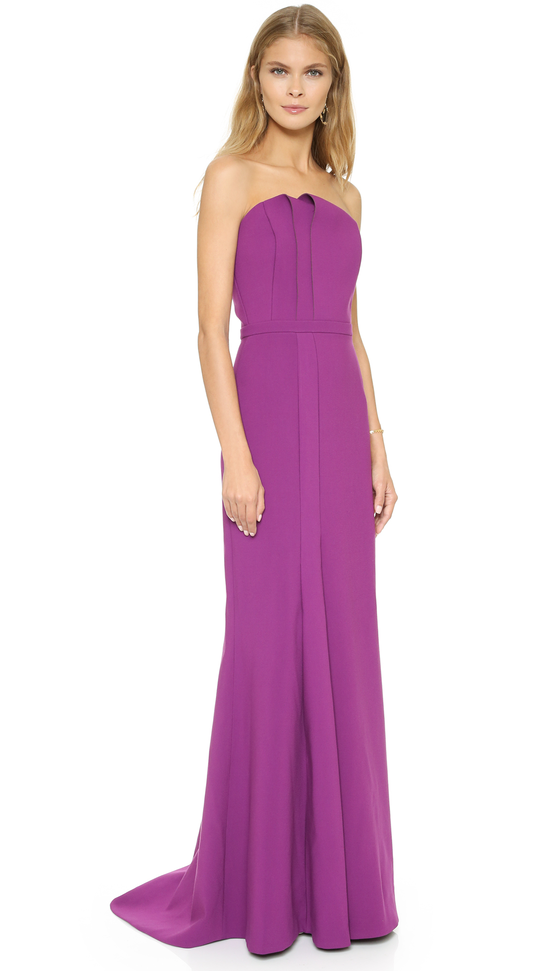 Lyst halston strapless gown with fold detail magenta for Halston heritage shirt dress