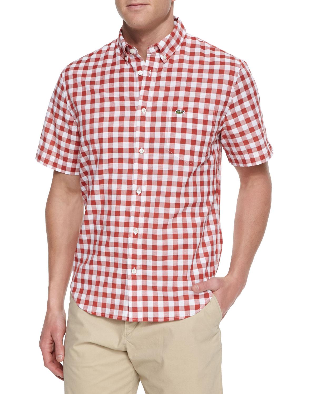 Lacoste Short Sleeve Gingham Check Shirt In Orange For Men