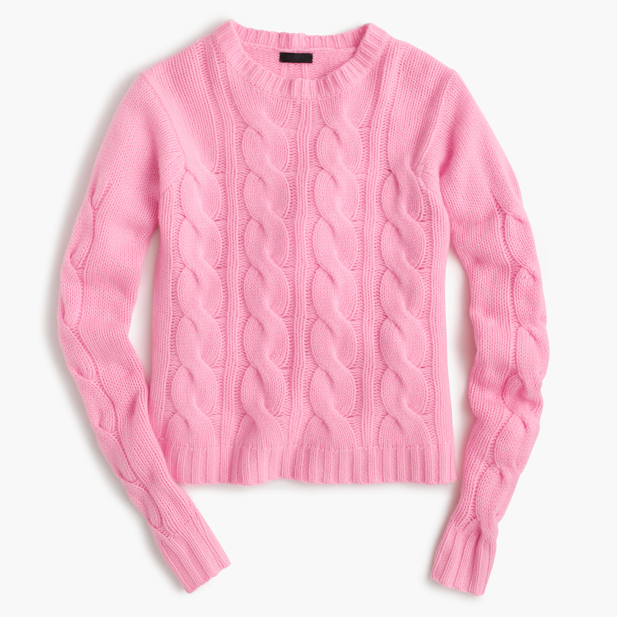 275aaebed57f Lyst - J.Crew Italian Cashmere Cable Sweater in Pink