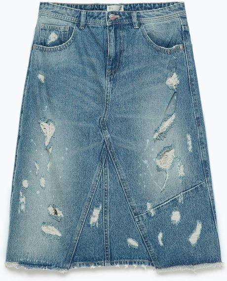 zara distressed denim pencil skirt in blue lyst
