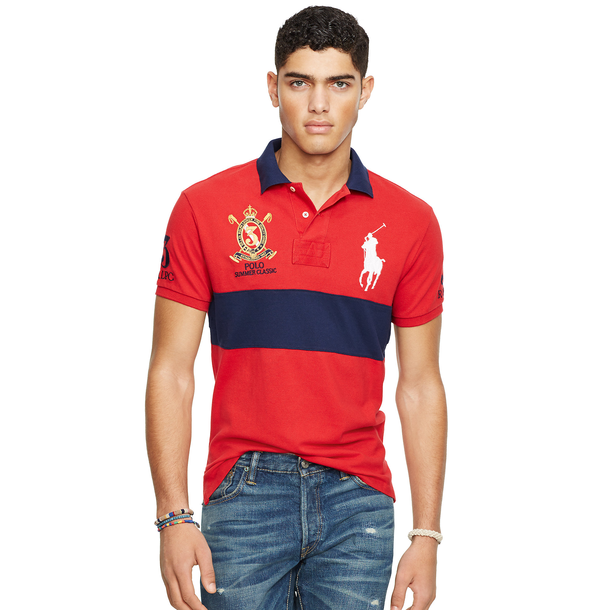 lyst polo ralph lauren custom fit big pony polo shirt in blue for men. Black Bedroom Furniture Sets. Home Design Ideas