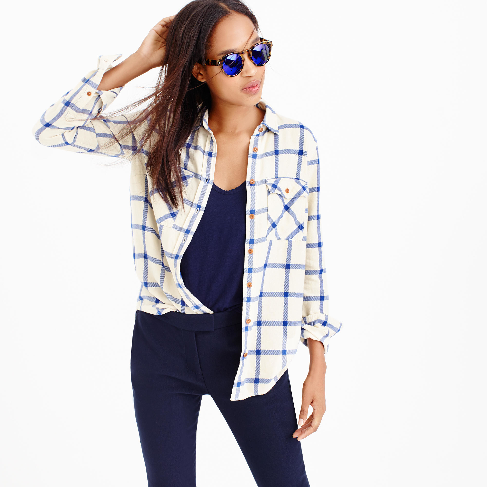 Petite boyfriend shirt in rockport plaid in natural for Oversized plaid shirt womens
