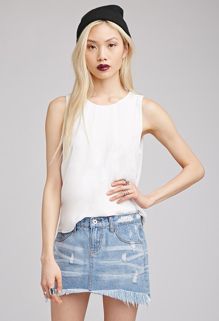 7fef5ceef967 Distressed Denim Mini Skirt Forever 21 | Saddha