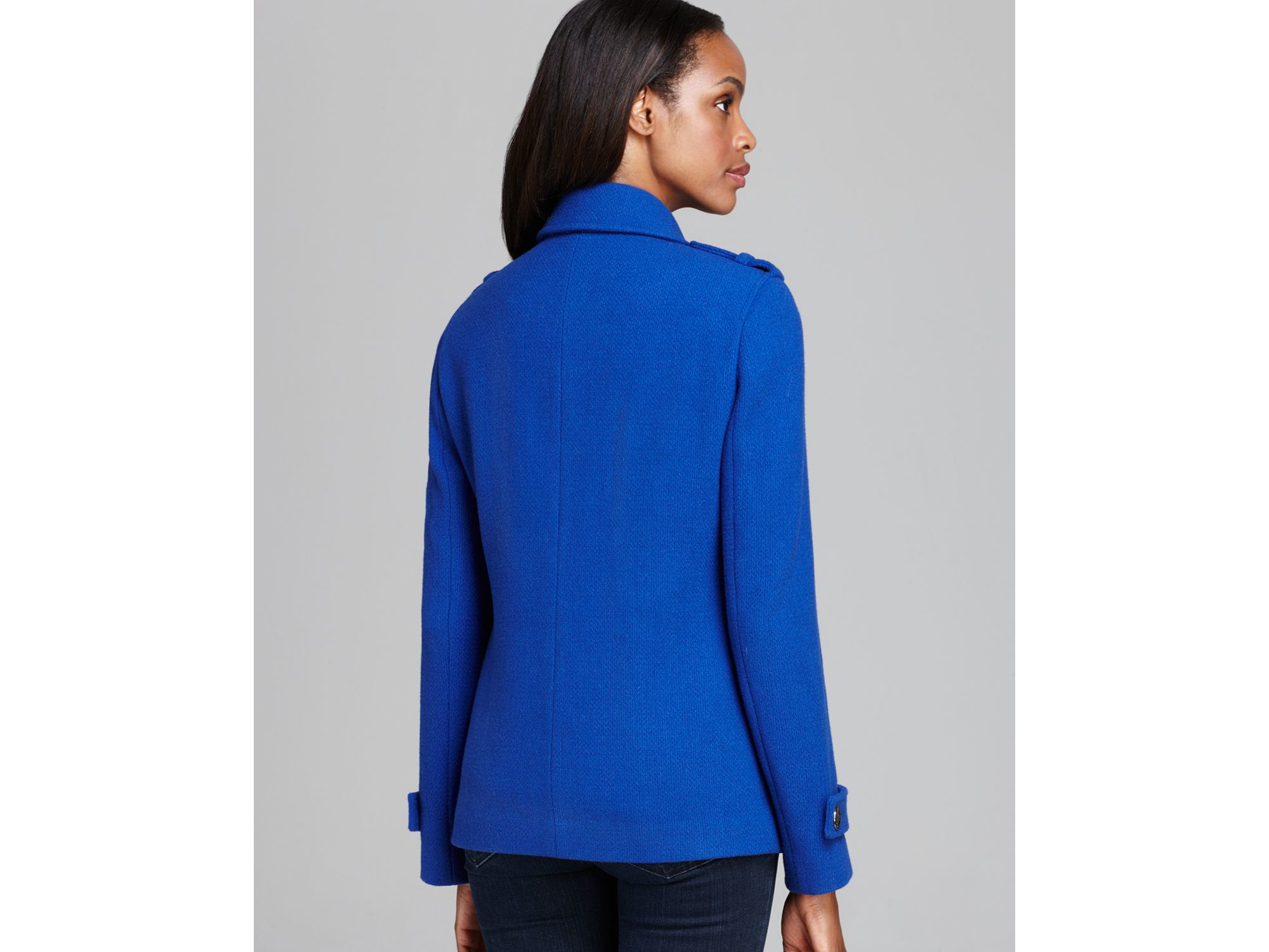 Blue Pea Coat With Red Trim - Tradingbasis