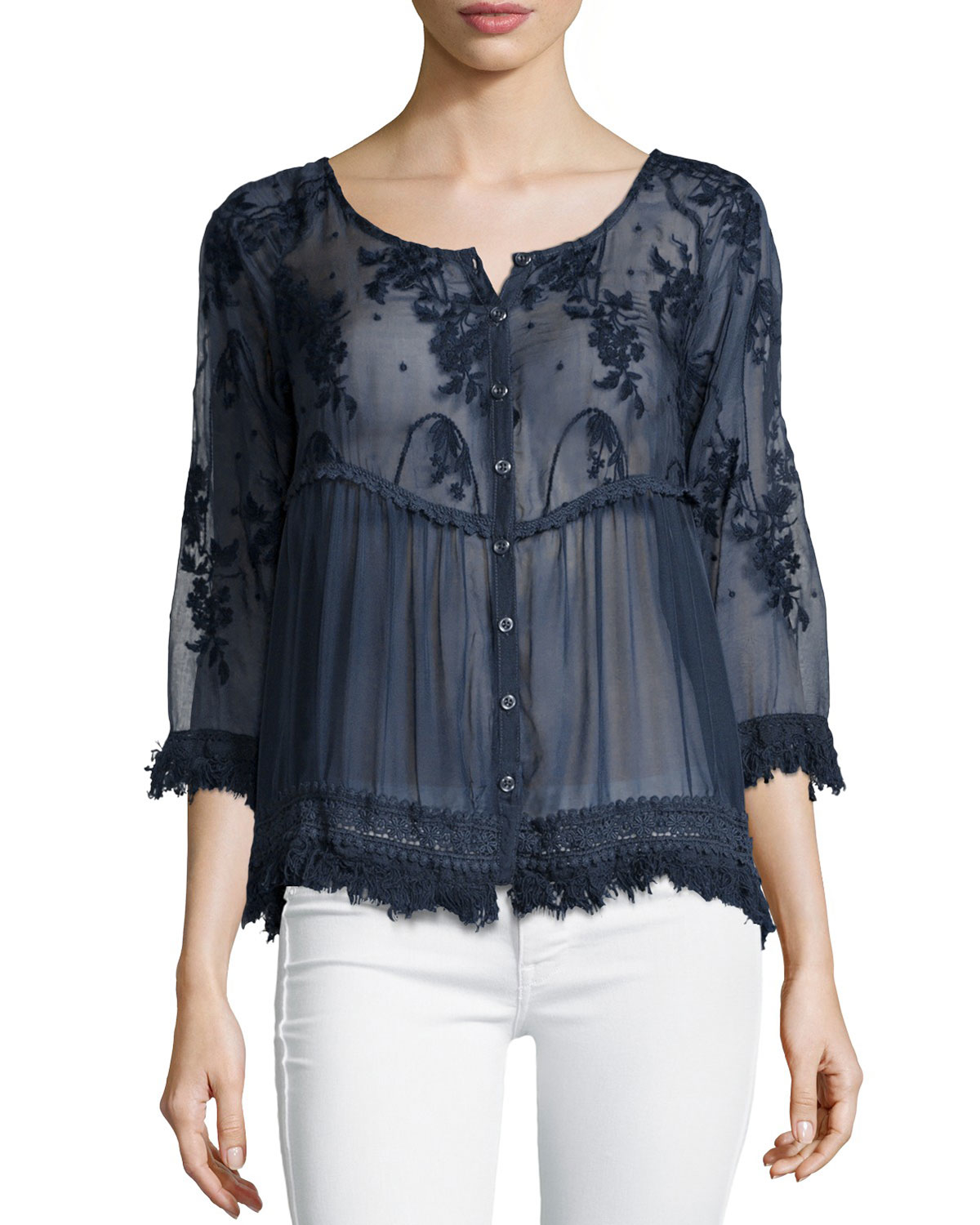 Lyst 4 Love Amp Liberty Reba Dita 3 4 Sleeve Embroidered
