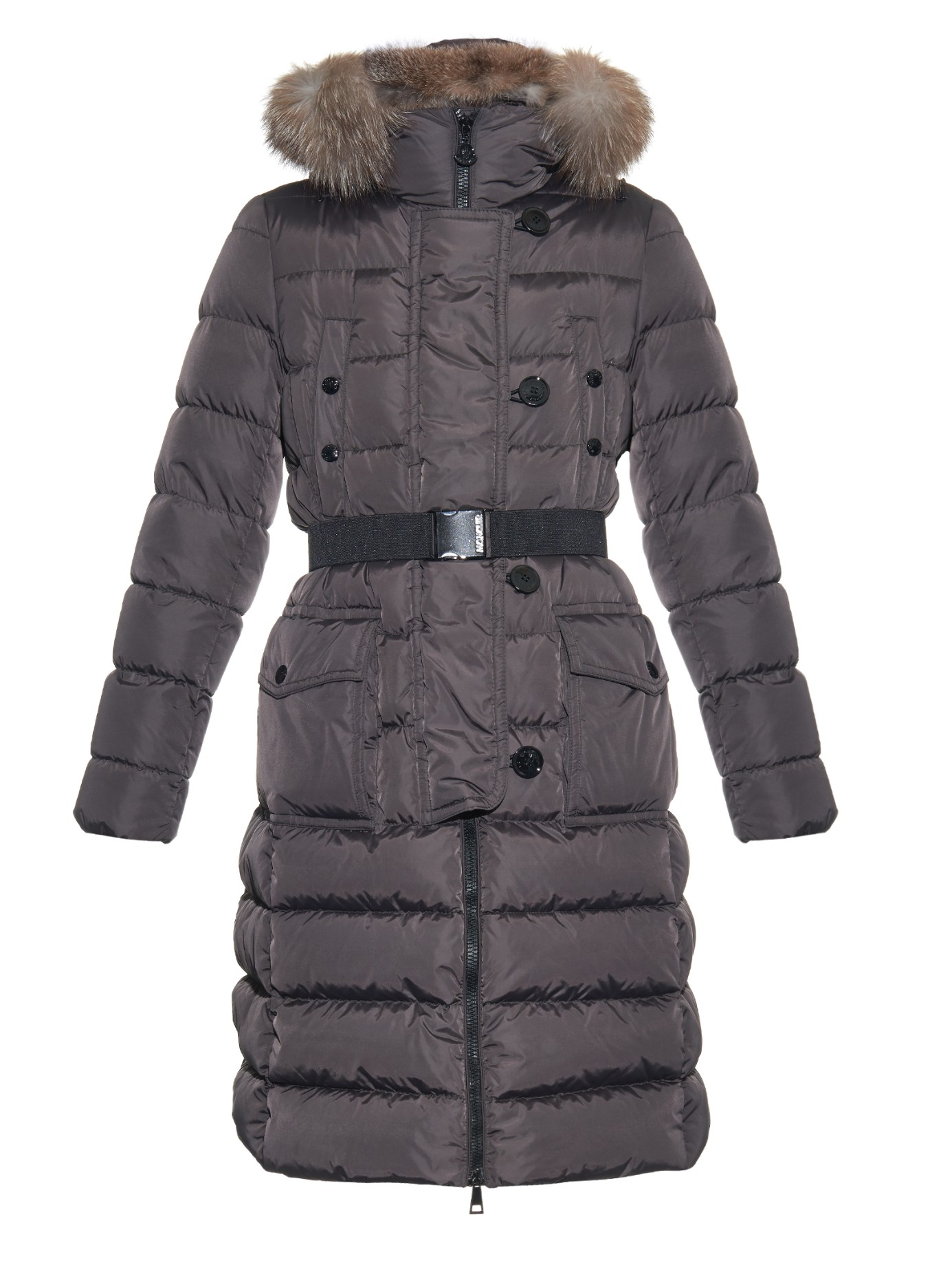 Moncler Genevriette Quilted-down Coat in Gray | Lyst