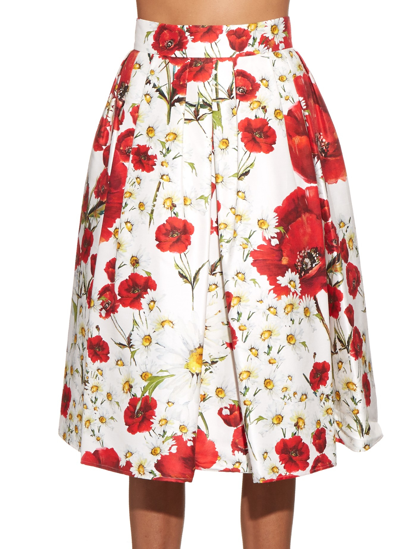 111e7ad1 Dolce & Gabbana Daisy And Poppy-print Pleated Skirt in Red - Lyst
