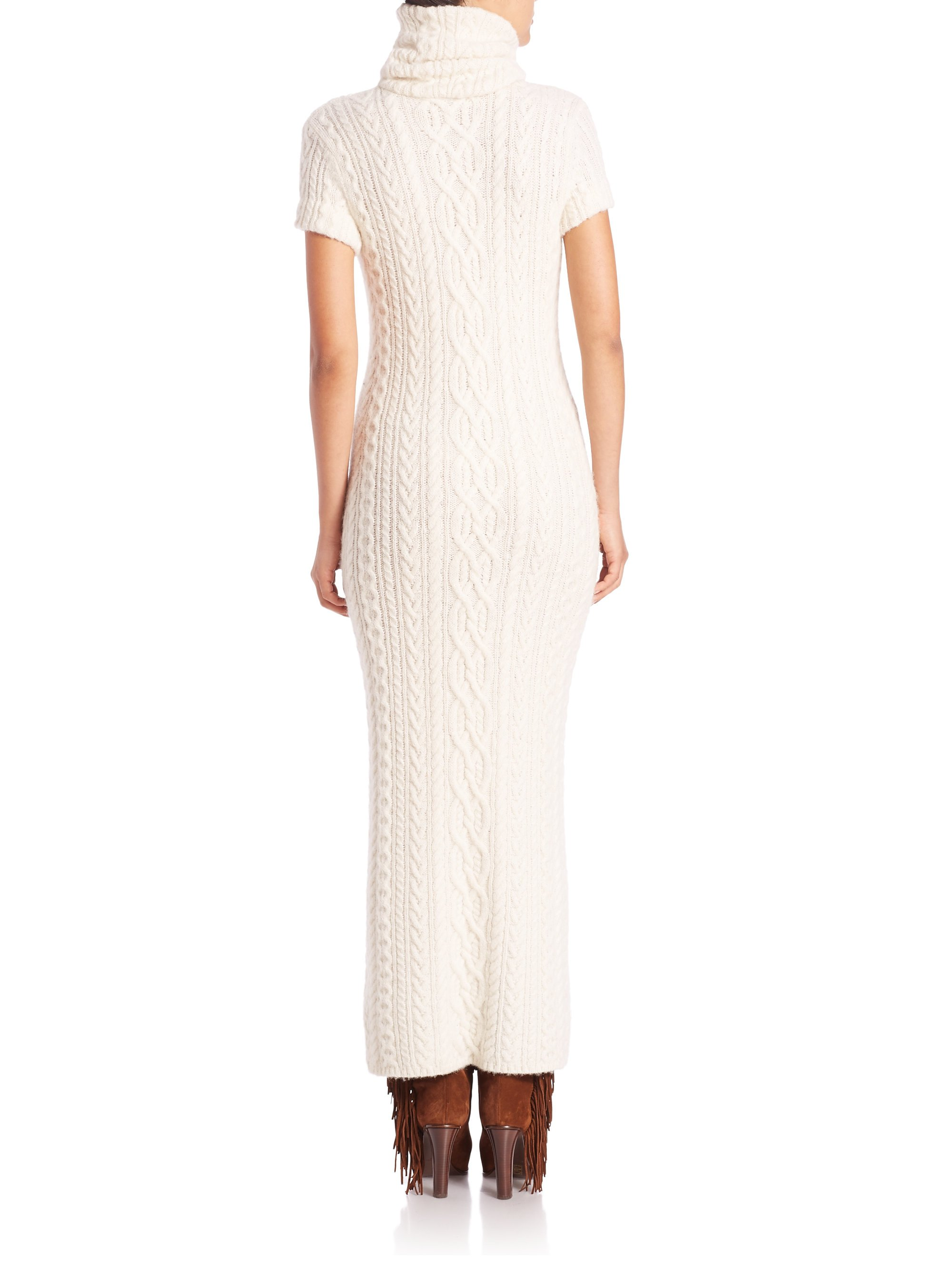 Lyst Polo Ralph Lauren Cable Knit Turtleneck Sweater Dress In Natural