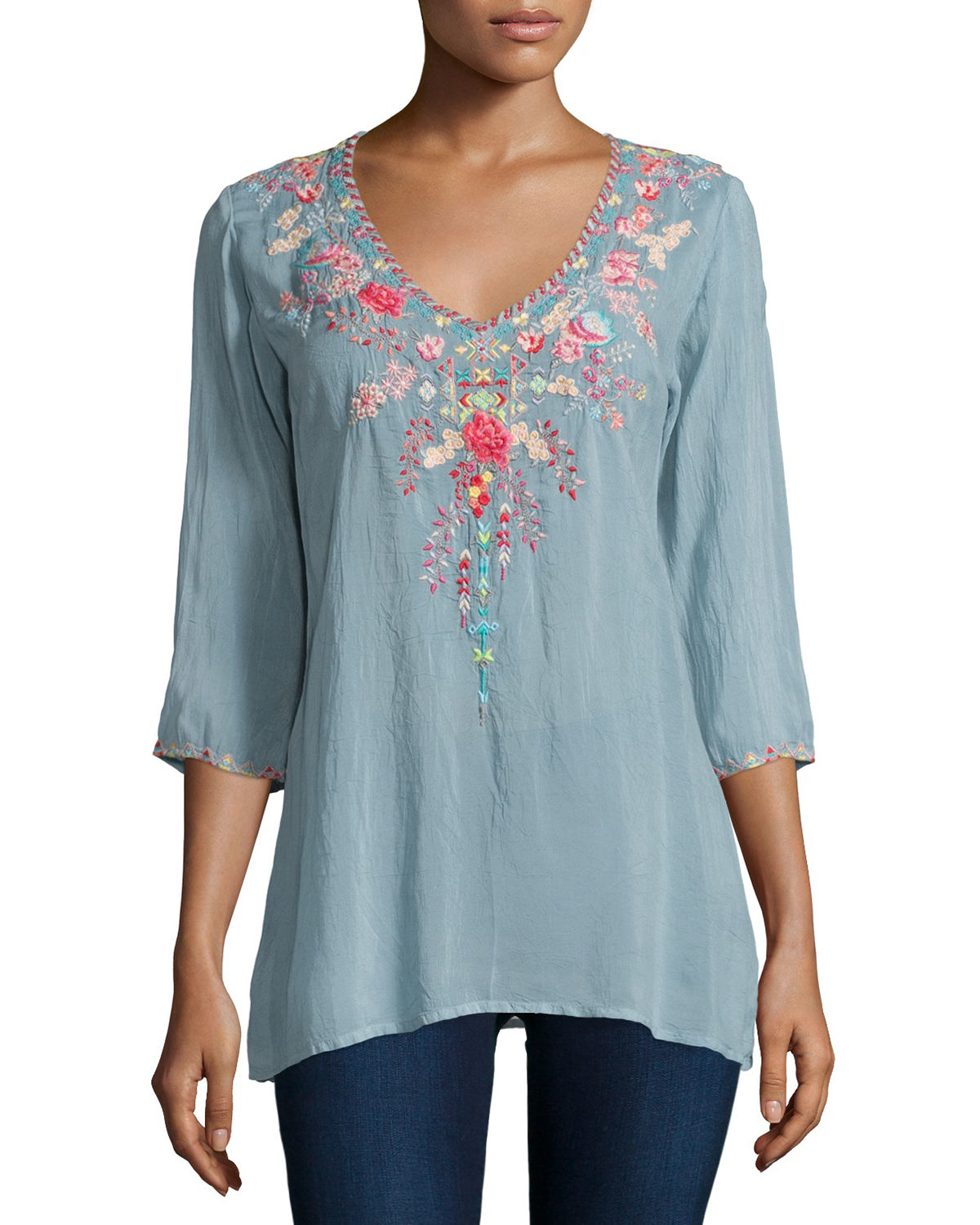 e23b8f7cb46a Lyst - Johnny Was Swan Embroidered 3 4-sleeve Tunic in Blue