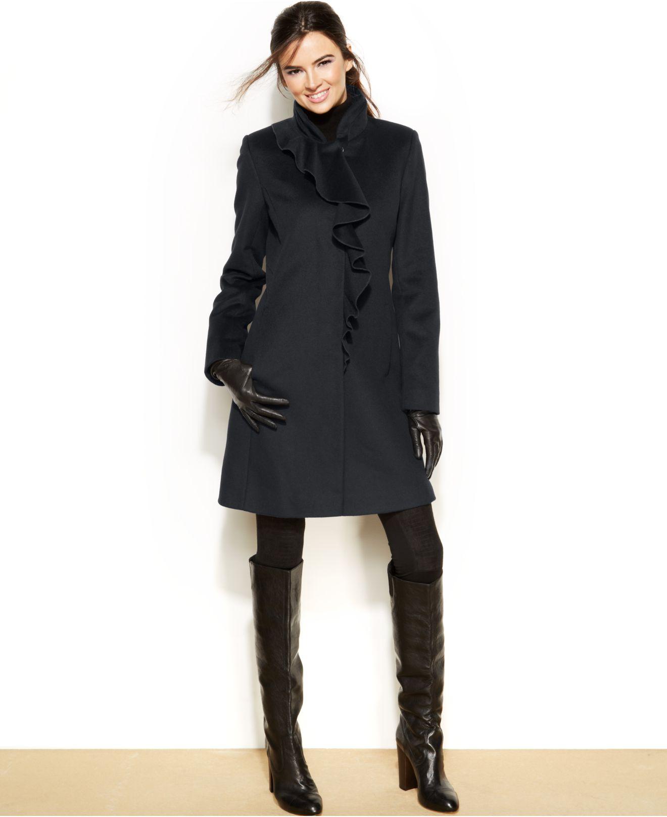 Dkny Petite Wool-Blend Ruffled Walker Coat in Gray | Lyst