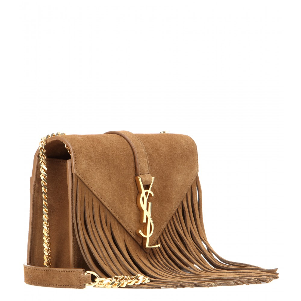 716d12abf0f Saint Laurent Classic Monogram Small Fringed Suede Shoulder Bag in ...