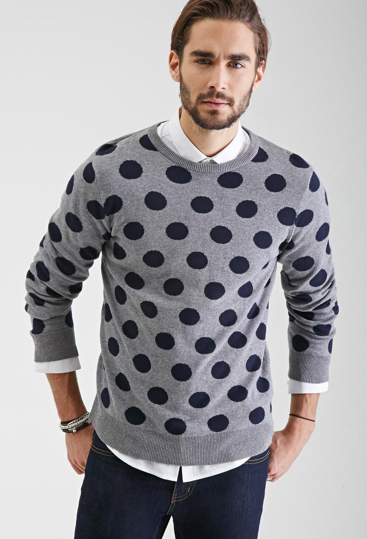 Lyst Forever 21 Polka Dot Sweater In Gray For Men