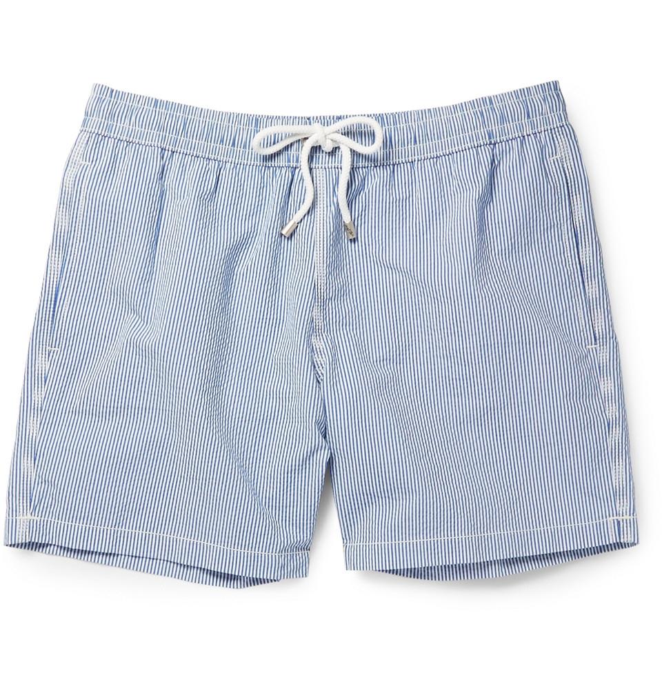 3819e4fe68 Hartford Mid-Length Striped Seersucker Swim Shorts in Blue for Men - Lyst