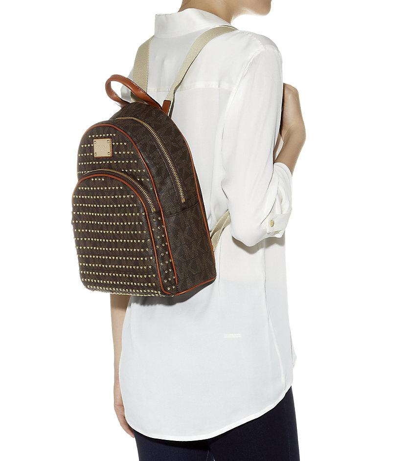 a3972057203b MICHAEL Michael Kors Small Jet Set Studded Backpack in Brown - Lyst