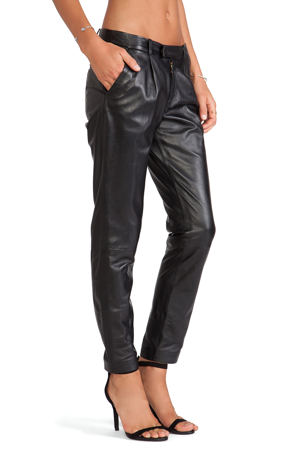 e0e25d11bca5 Lyst - RED Valentino Straight Leg Leather Pants in Black