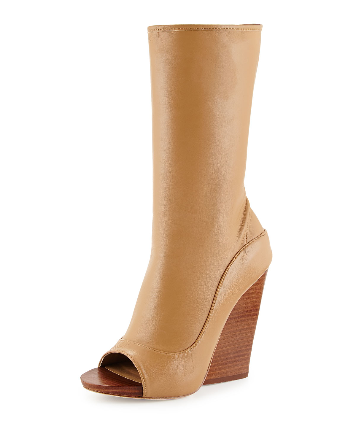 sports shoes 592af 66b66 Leon Max Ellis Peep-toe Wedge Bootie in Natural - Lyst