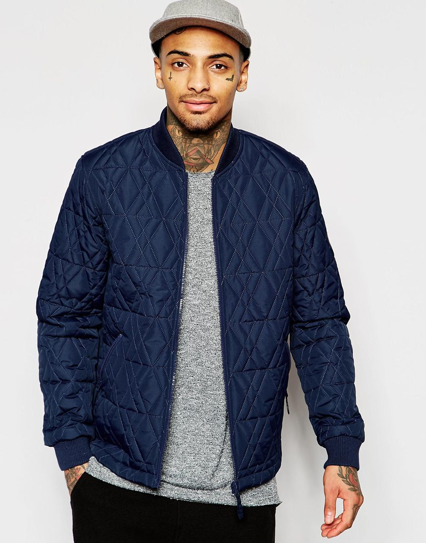 Asos Bomber Jacket With Diamond Quilt In Navy in Blue for Men | Lyst