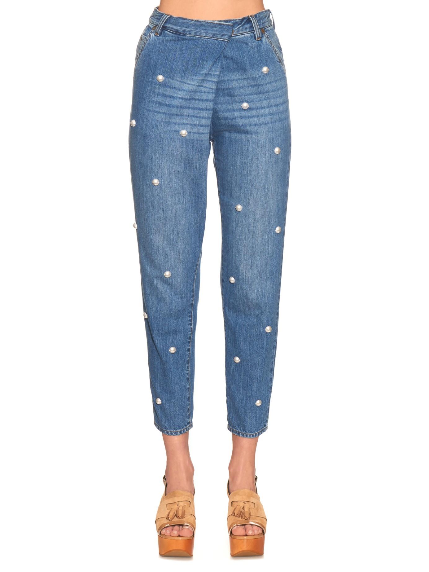 Lyst - Muveil Faux-pearl Embellished Boyfriend Jeans in Blue