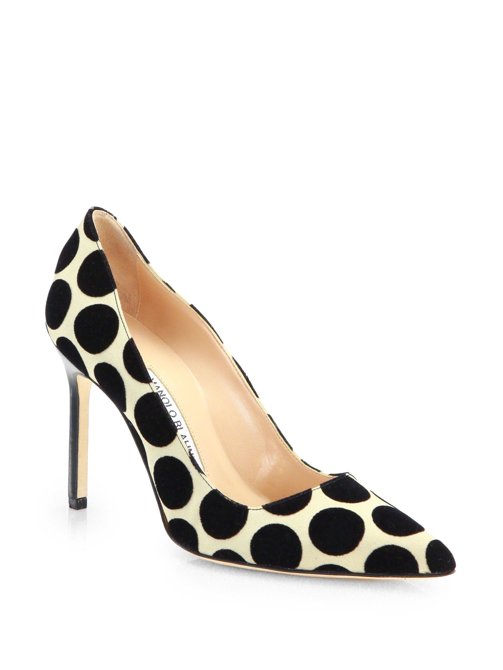 Lyst Manolo Blahnik Satin Suede Polka Dot Pointtoe Pumps