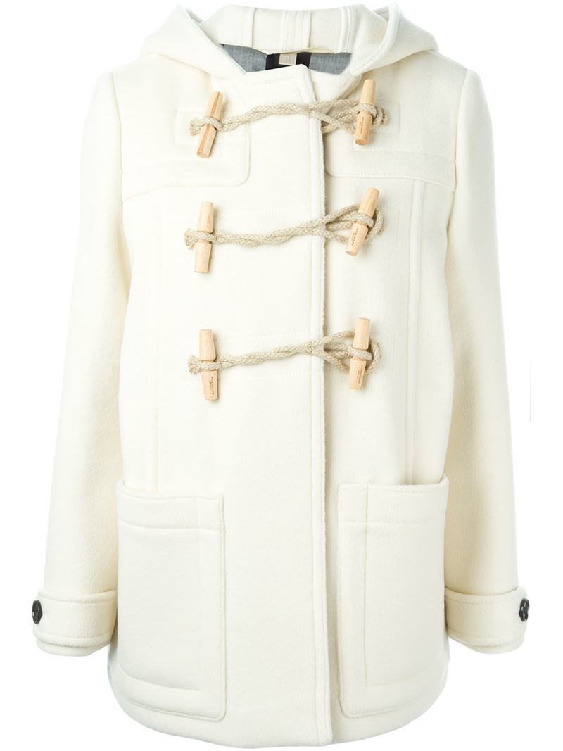 Burberry brit Hooded Duffle Coat in White | Lyst