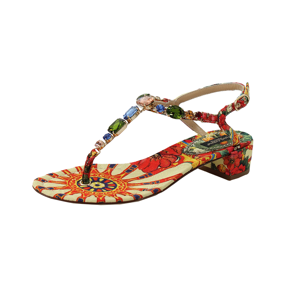 ac81f4e11833 Dolce   Gabbana Crystal Embellished Thong Sandal in Yellow - Lyst