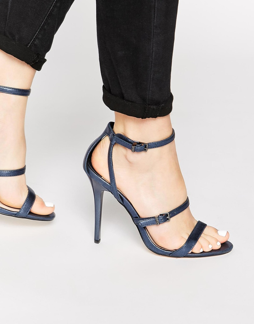 Faith Litchfield Navy Metallic Heeled Sandals in Blue | Lyst
