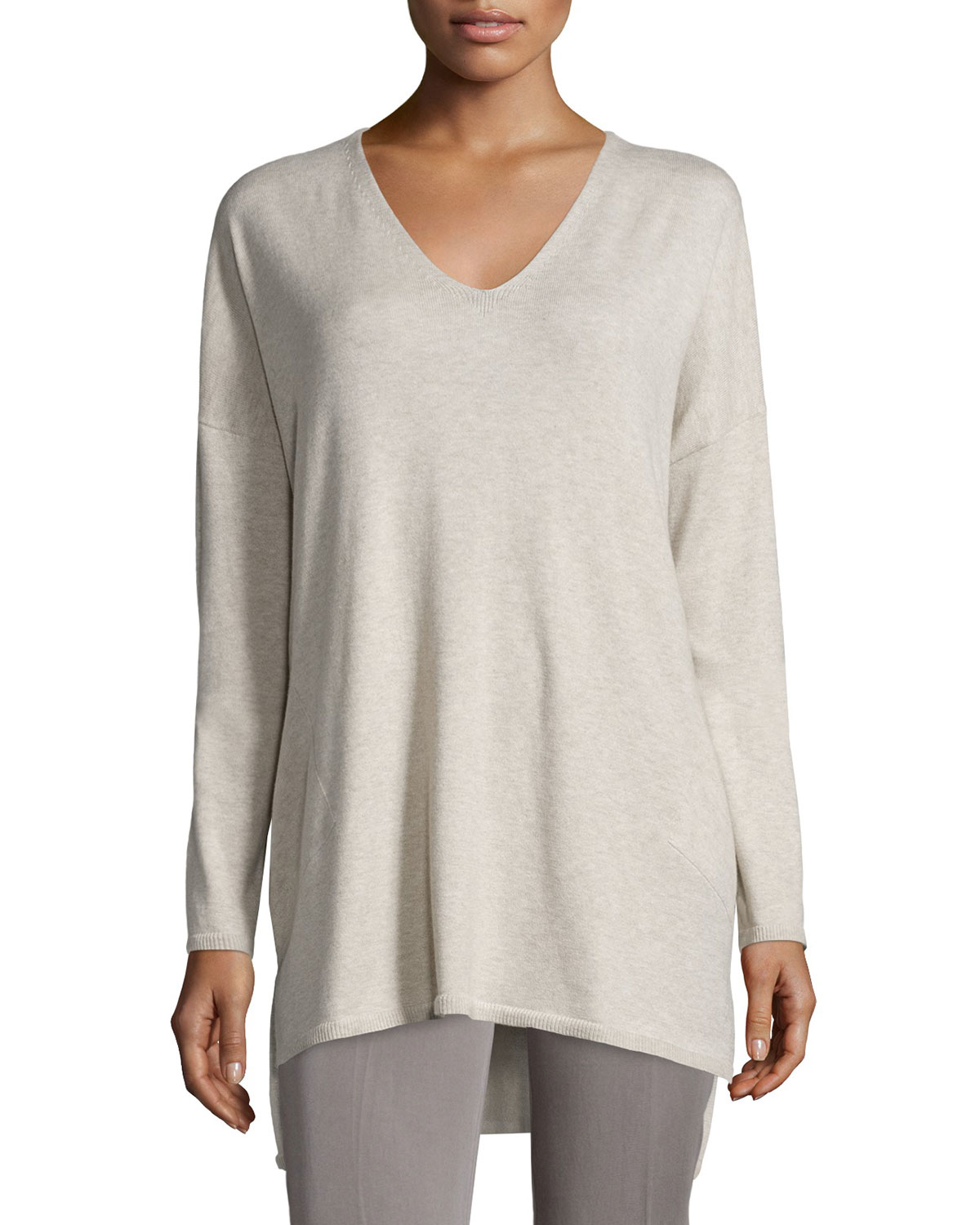 343fd418287 Lyst - Eileen Fisher V-neck Organic Cotton Tunic With Pockets in Gray