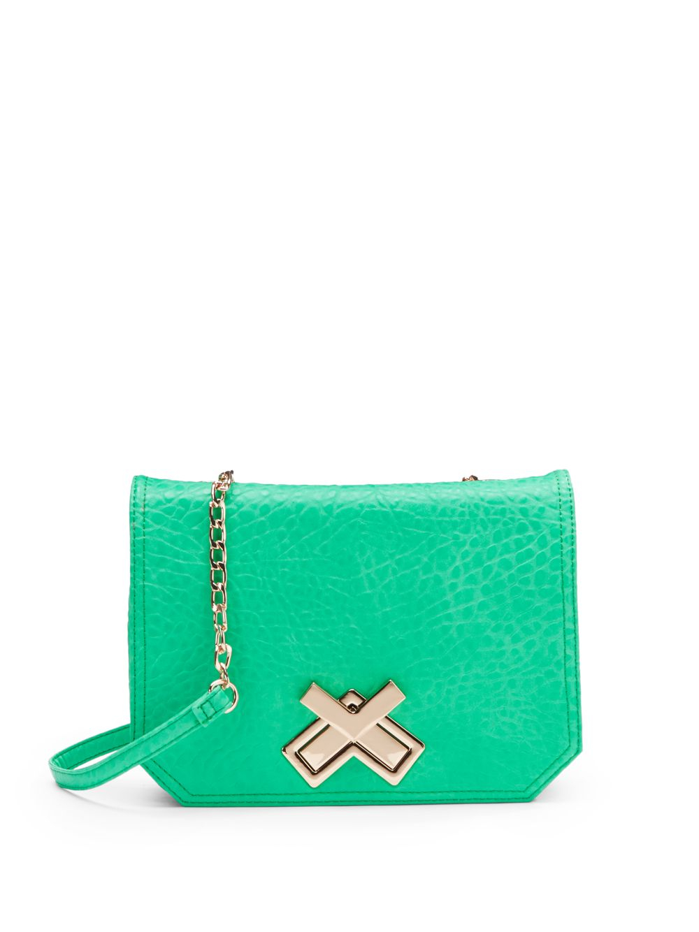 deux cross leather crossbody bag in green mint