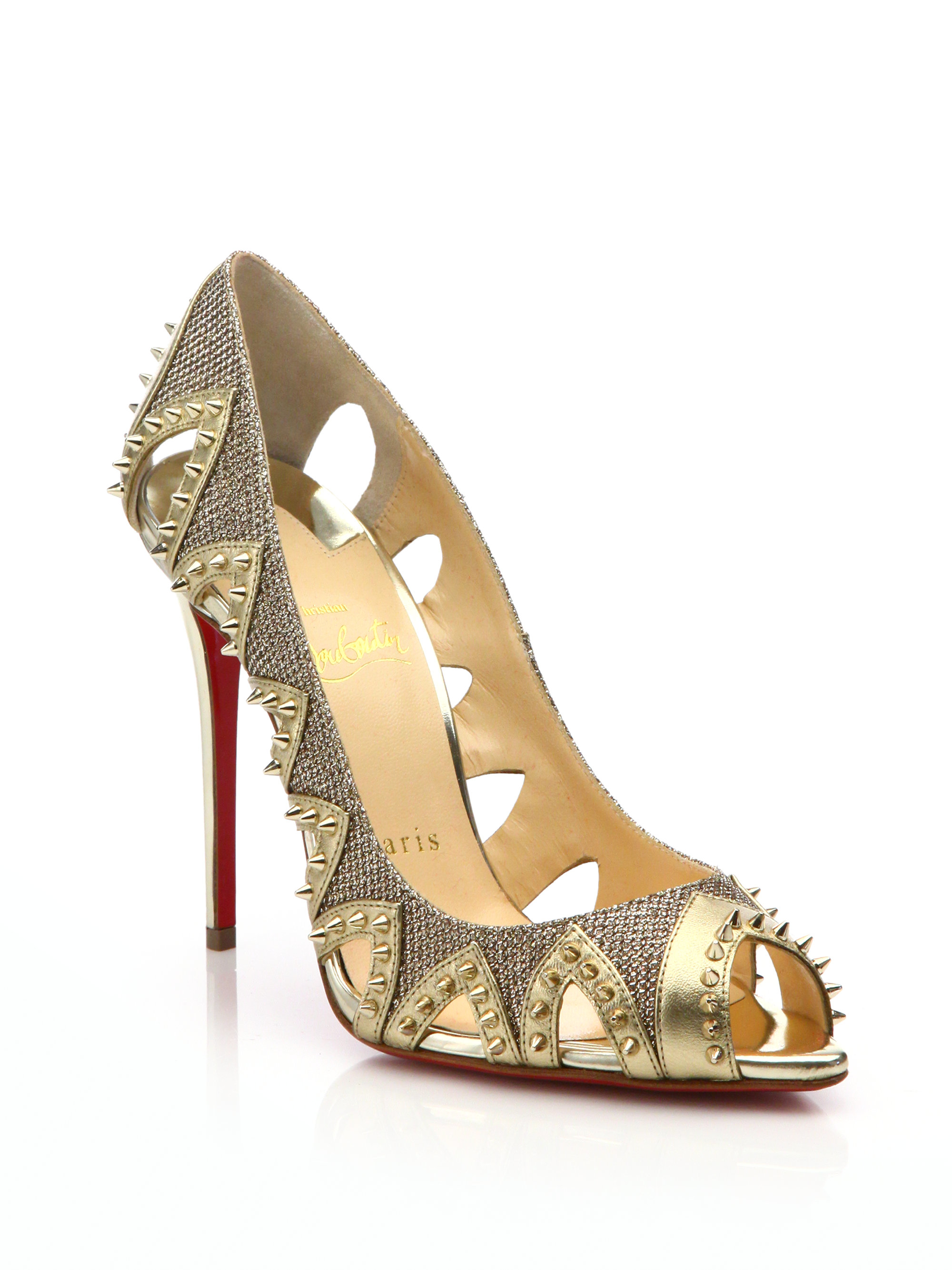 Christian louboutin Pinder City Studded Cut-Out Leather Pumps in ...
