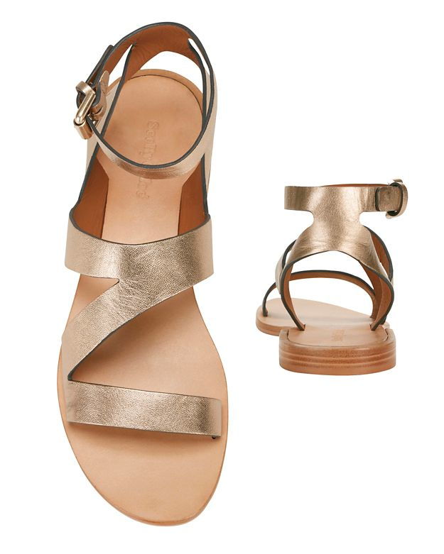 6056239e6e6 Lyst - See By Chloé Dania Metallic Leather Cut Out Flat Sandals in ...