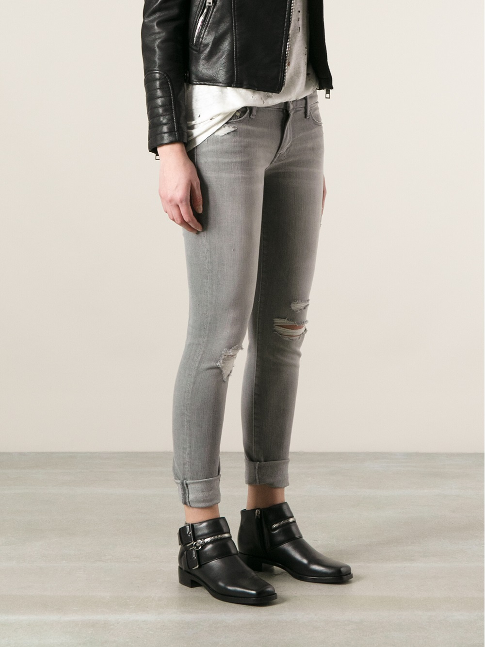 Mother Distressed Skinny Jeans in Gray | Lyst