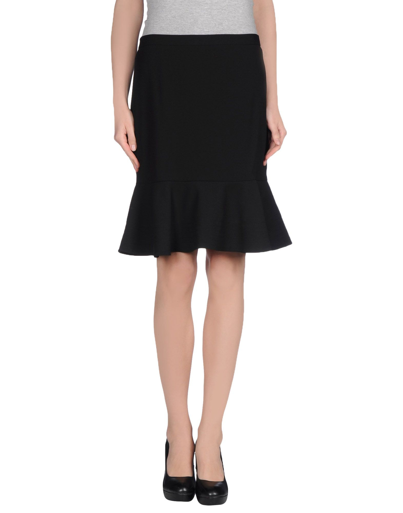 dkny knee length skirt in black lyst