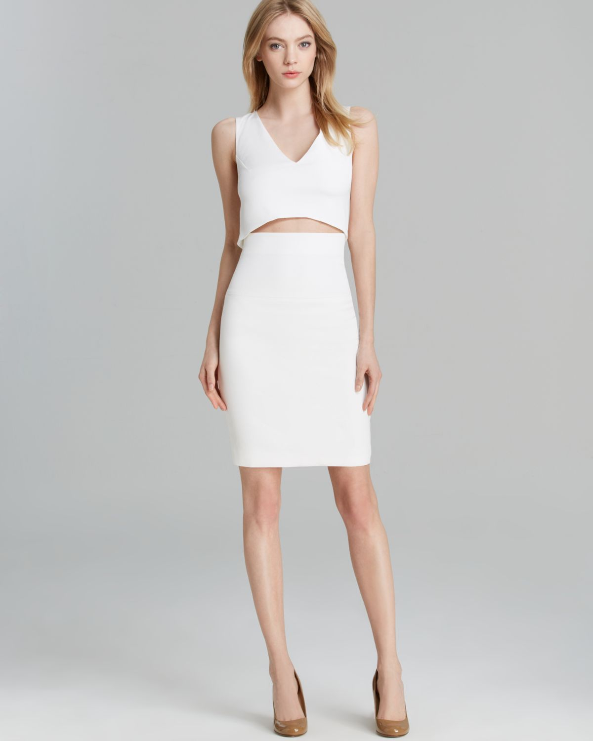 fa1e5476d1 French Connection Dress Glamour Stretch Slit in White - Lyst