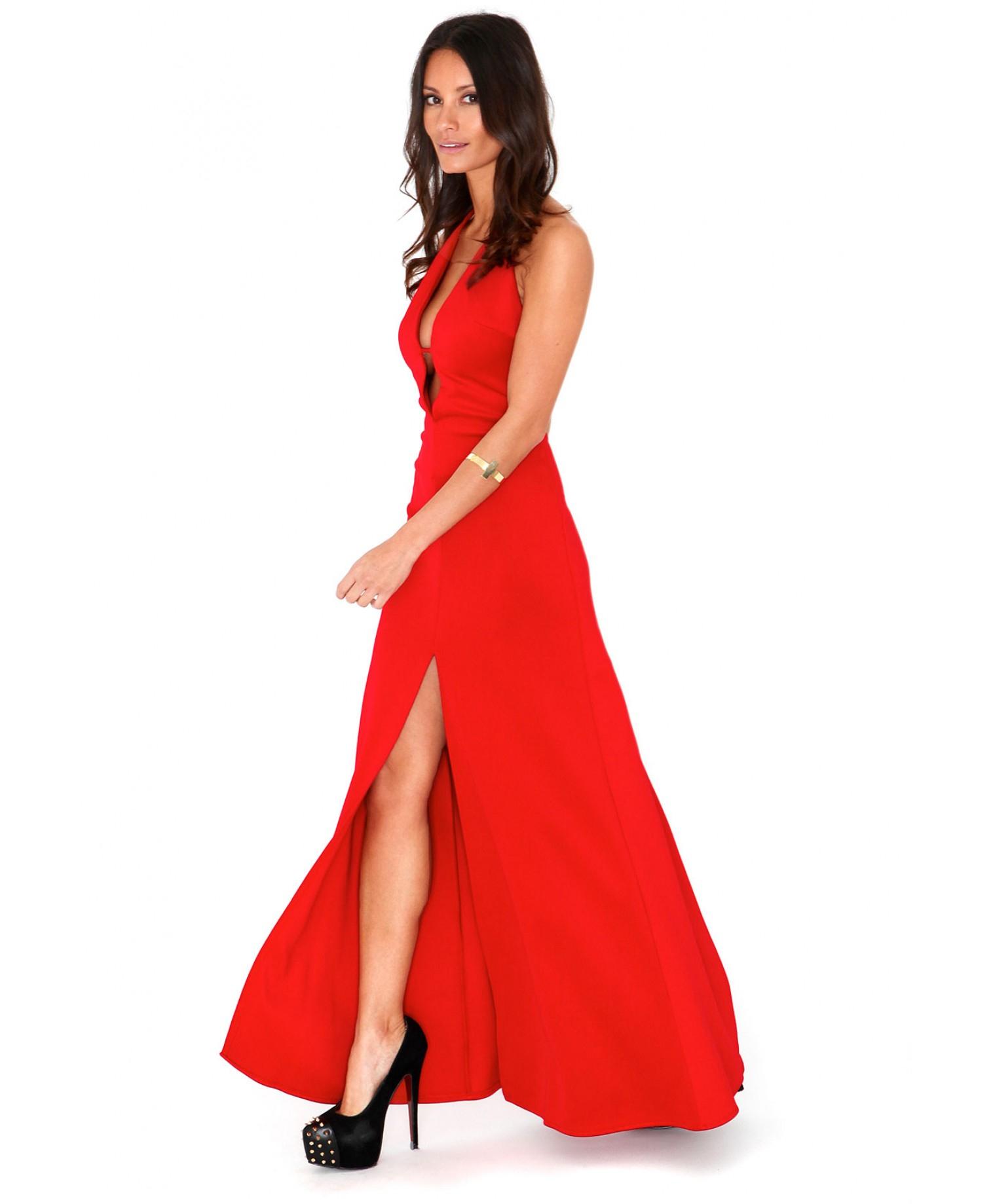 Red slinky maxi dress