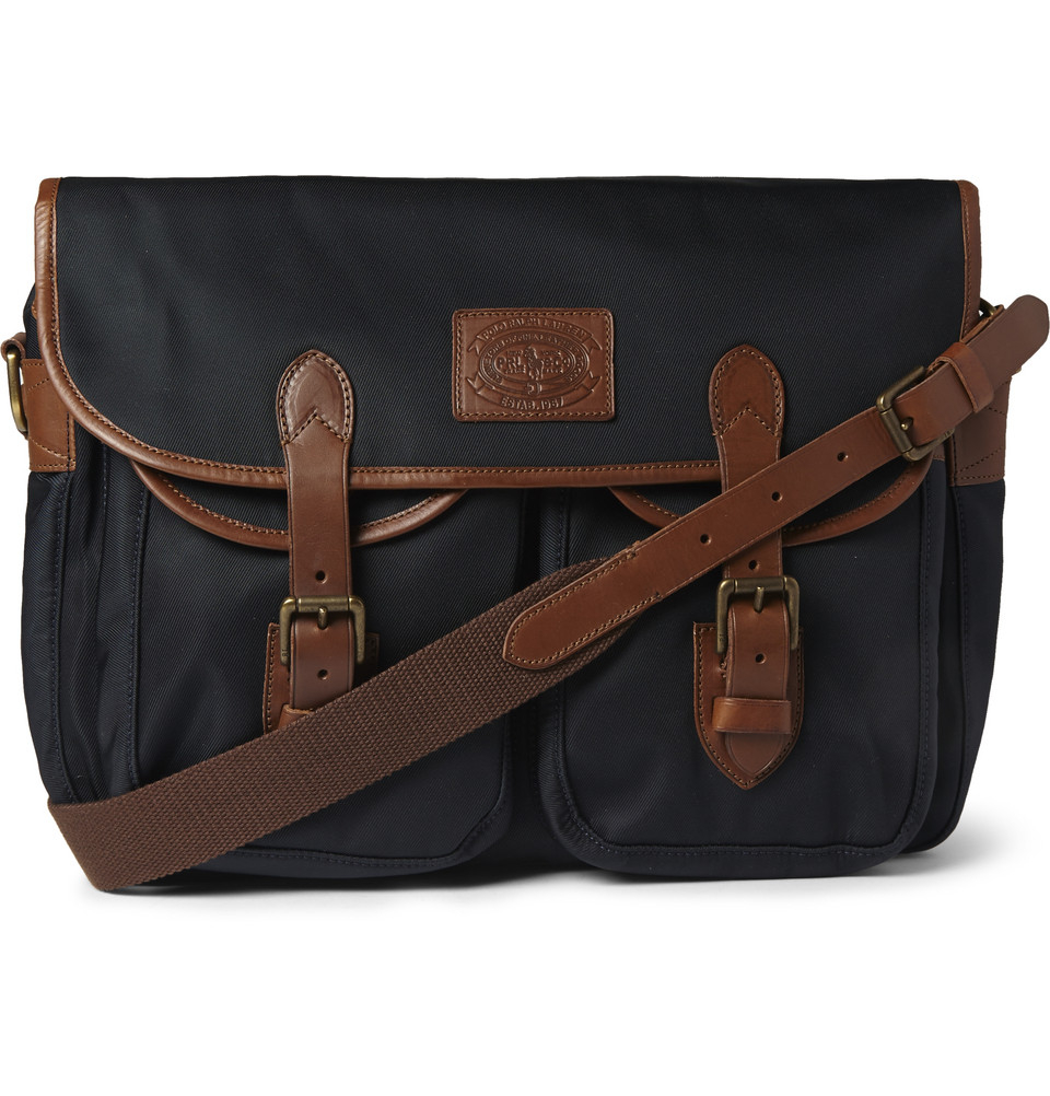 5676d1beaa Lyst - Polo Ralph Lauren Leather-Trimmed Canvas Messenger Bag in ...