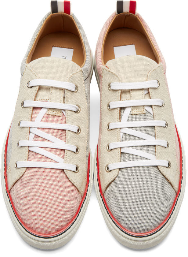 canvas tricolour sneakers - White Thom Browne zaELcd8