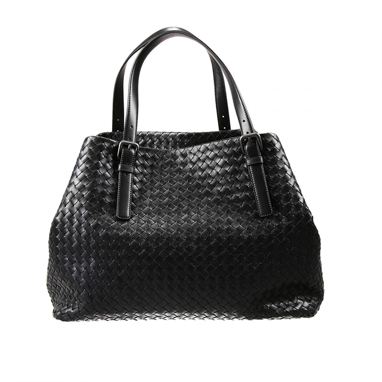 bottega veneta black handbag shopping woven lyst