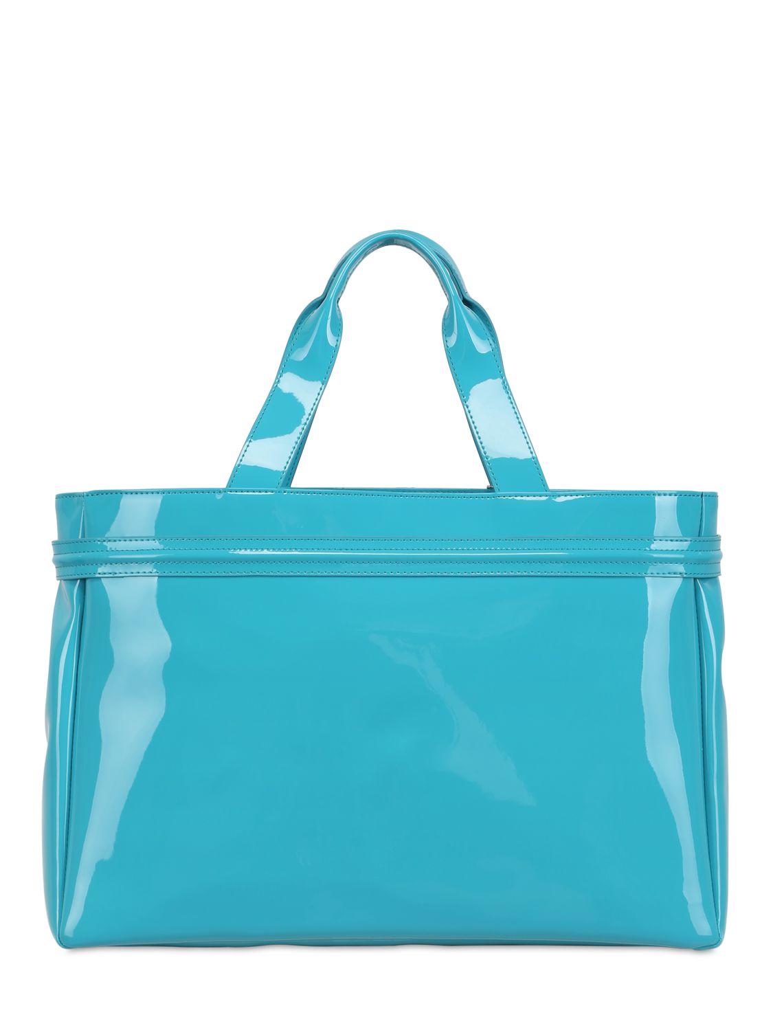 Armani jeans Medium Embossed Logo Patent Vinyl Bag in Blue  2962d56a0eae1