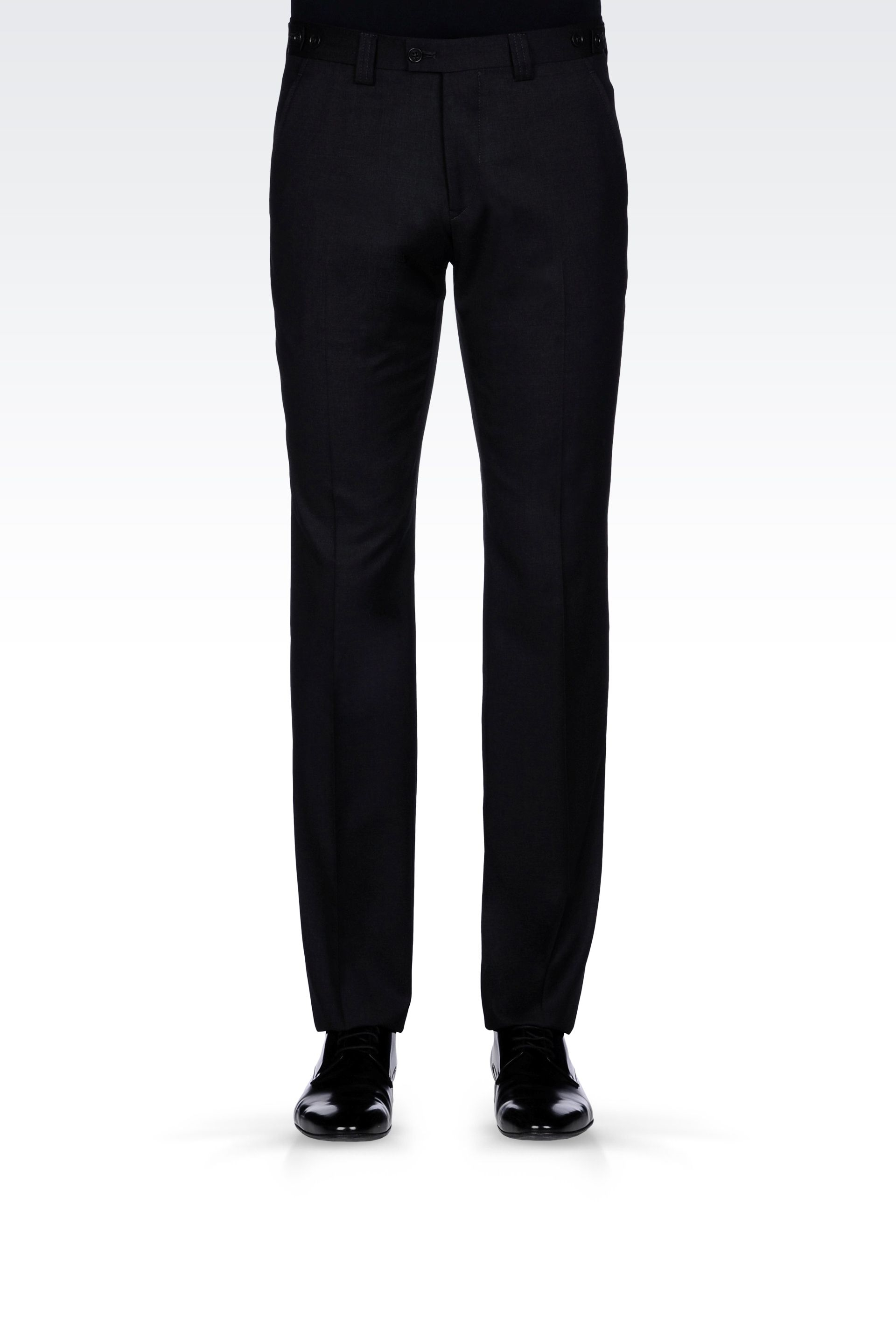 Armani Wool Pants With Double Side Tab Adjusters In Black