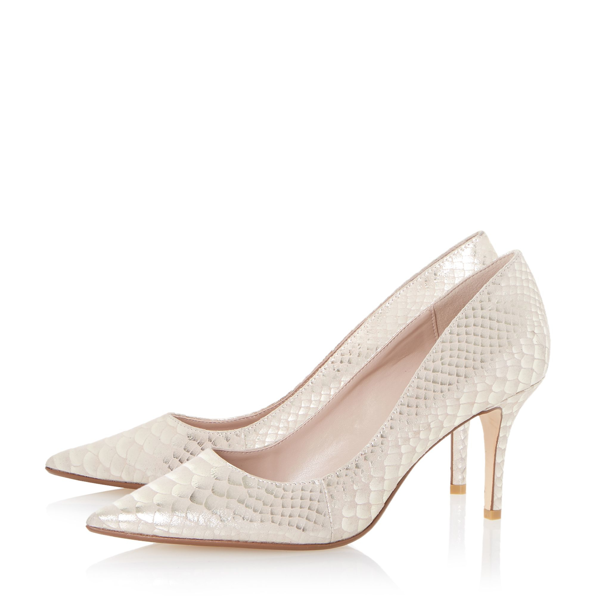 White Medium Heel Shoes