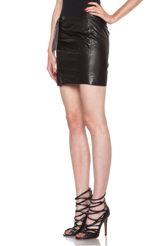 Isabel marant Boden Lambskin Leather Skirt in Black | Lyst