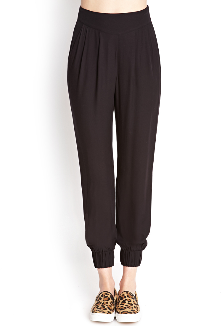 Forever 21 Pleated Woven Harem Pants in Black | Lyst