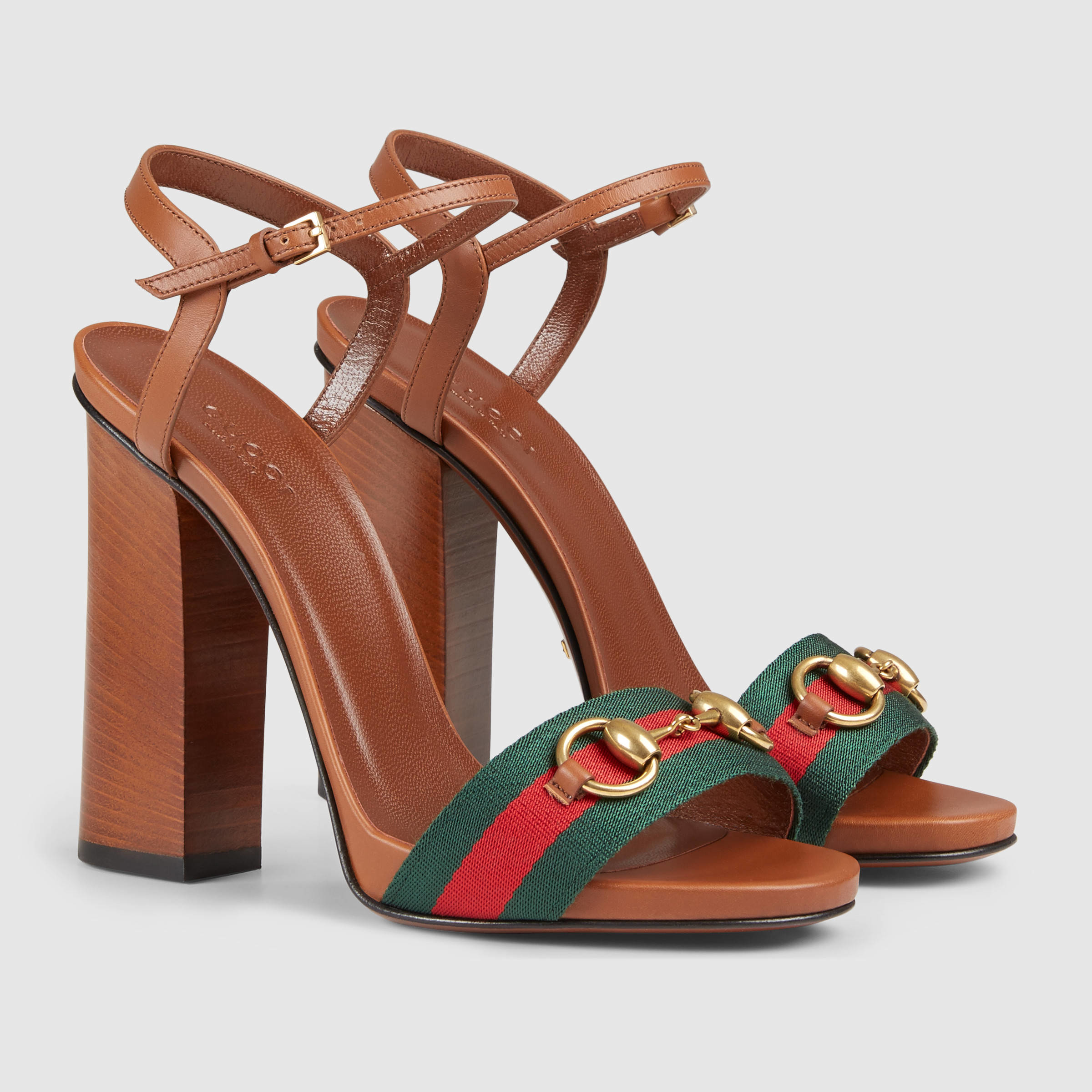 Lyst Gucci Leather T Strap Sandal In Brown