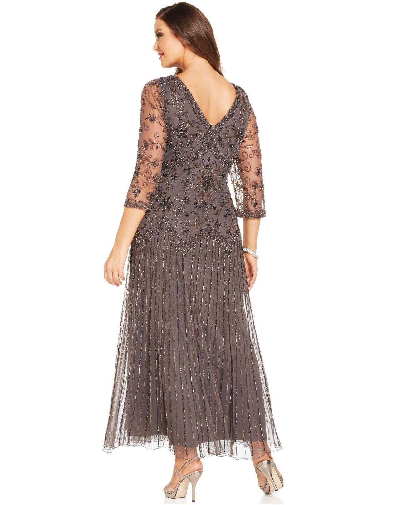 Lyst - Pisarro Nights Plus Size Three-Quarter-Sleeve Beaded Gown in Gray